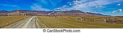 Kalnik mountain natural scenery panorama, Prigorje region,...