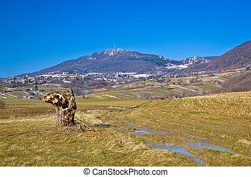Kalnik mountain nature winter view, Prigorje region of...