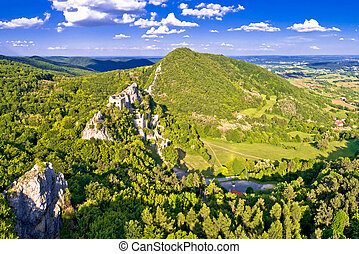 Kalnik mountain ridge and old fortress ruins aerial view,...