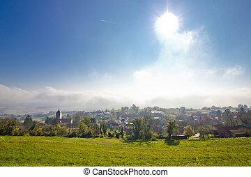 Kalnik mountain village in fog - Kalnik mountain village...