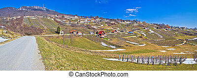 Kalnik mountain vineyards and cottages panorama, Prigorje,...