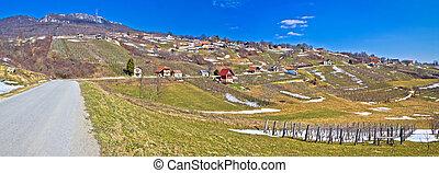 Kalnik mountain vineyards and cottages panorama, Prigorje,...