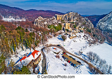 Kalnik mountain winter aerial view, fortress on cliff and...