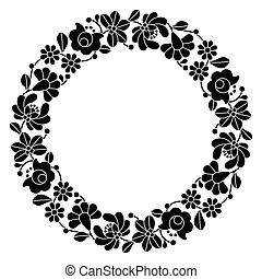 Kalocsai black embroidery in circle - Vector background -...