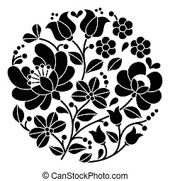 Kalocsai black Hungarian embroidery - Vector background - ...