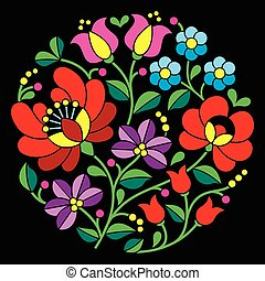 Kalocsai embroidery - Hungarian - Vector background - ...