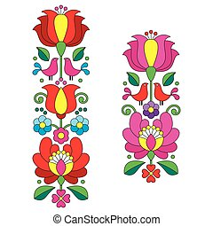 Kalocsai embroidery - Hungarian - Vector background -...