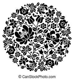 Kalocsai folk art black embroidery - Vector background -...
