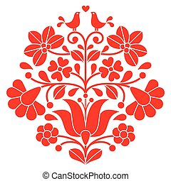 Kalocsai red embroidery - Hungarian - Vector background -...