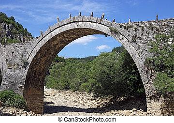 Kalogeriko arched stone bridge Zagoria Greece