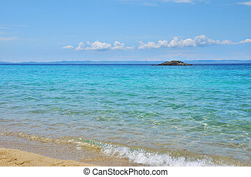 Kalogria beach in Sithonia, Chalkidiki, Greece, with a view...