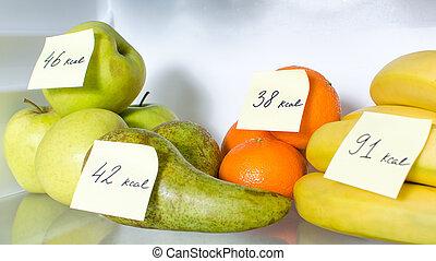 kalorie, otwarty, znaczony, owoce, pełna lodówka