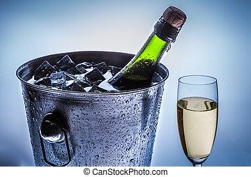 kalte , champagner, closeup, kalte