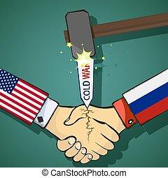 kalter krieg, zwischen, der, usa, und, russland