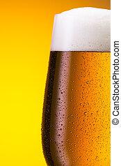 kaltes bier, in, a, glas