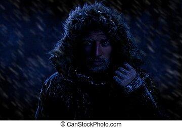 kaltes wetter, einfrieren, mann