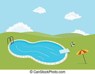 kaluž, plavání