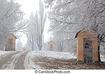kalvarienberg, und, winter- natur