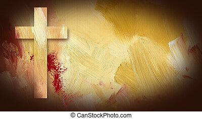 kalwaria, krzyż, ofiarny, krew, graficzny, na, barwiony,...