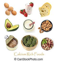kalzium, reich, essen, freigestellt, weiß