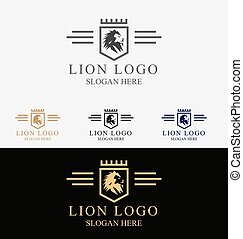 kam, logo, leeuw, koninklijk, koning