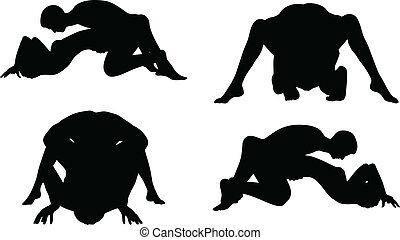 kama, silhouette, posizioni, sutra, fondo, bianco
