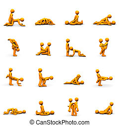 Kama Sutra - Orange cartoons with kama sutra positions,...