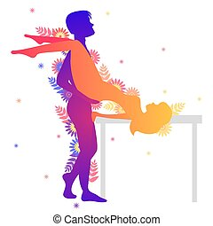 Kama sutra sexual pose The Butterfly on white background -...