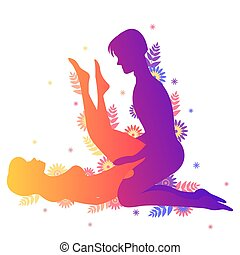 Kama sutra sexual pose The Candle on white background - Kama...