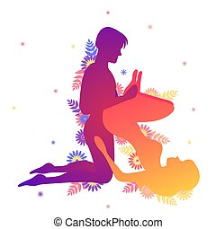 Kama sutra sexual pose The G-Force on white background -...