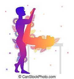 Kama sutra sexual pose The Mermaid on white background -...