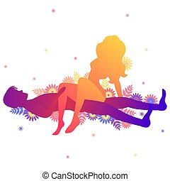 Kama sutra sexual pose The Side Saddle. Man and woman on...