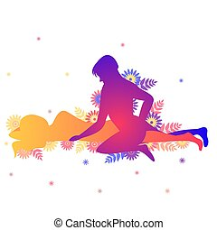 Kama sutra sexual pose The Sidekick on white background -...