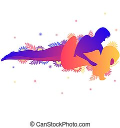 Kama sutra sexual pose The Whisper on white background -...
