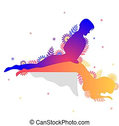Kama sutra sexual pose The Y Curve. Man and woman on white...