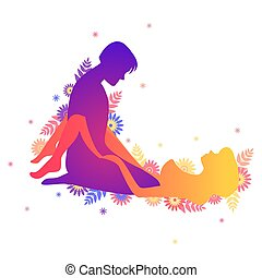 Kama sutra sexual pose Wide Opened on white background -...