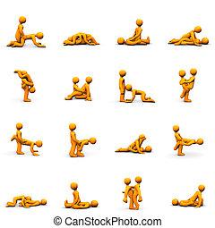 Kama Sutra - Orange cartoons with kama sutra positions,...