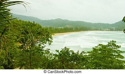 Kamala Beach on a cloudy day. Thailand, Phuket Island