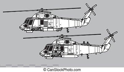 Kaman SH-2 Seasprite. Outline vector drawing - Vector ...