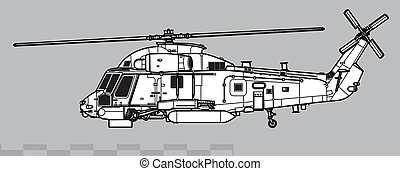 Vector drawing of anti-submarine warfare helicopter. Side view. Image for illustration and infographics.