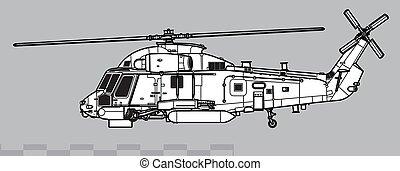 Kaman SH-2G Super Seasprite. Outline vector drawing - Vector...