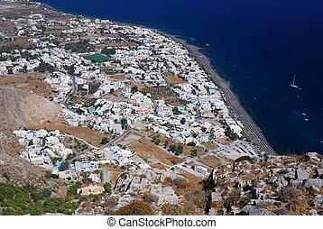 Kamari village, island Santorini, Greece - Upperview (from ...