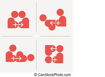 Kamasutra sexual positions styled in hearts, male and female...