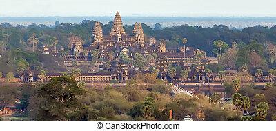 kambodżanin, punkt orientacyjny, angkor wat, asia., siem, żąć