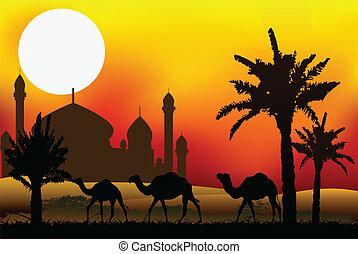 kamel, reise, mit, moschee, hintergrund