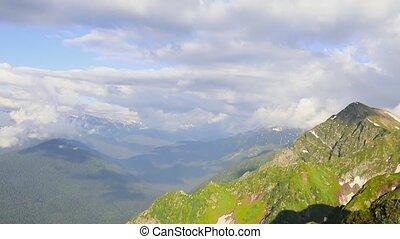 kamennyy, montagne, ridge., stolb., montagnes, khutor, rosa, krasnaya, aibga, recours, sochi, polyana., 2509m., ski, russie
