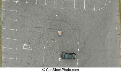 Top view of a Rally Car Performing Drift on the Asphalt -...