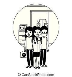 kamer, arts, medisch, consultatie, vrouwlijk, chirurg, verpleegkundige, personeel