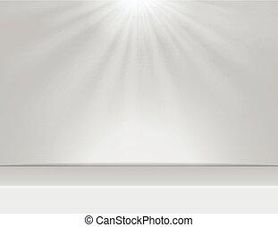 kamer, boven, licht, vector, studio, achtergrond, verlichting, witte