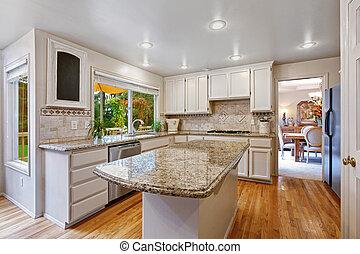 kamer, combinatie, eiland, opslag, witte , keuken
